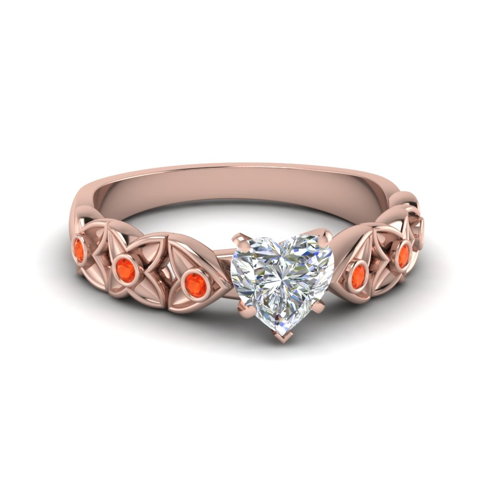Orange Topaz Engagement Ring
