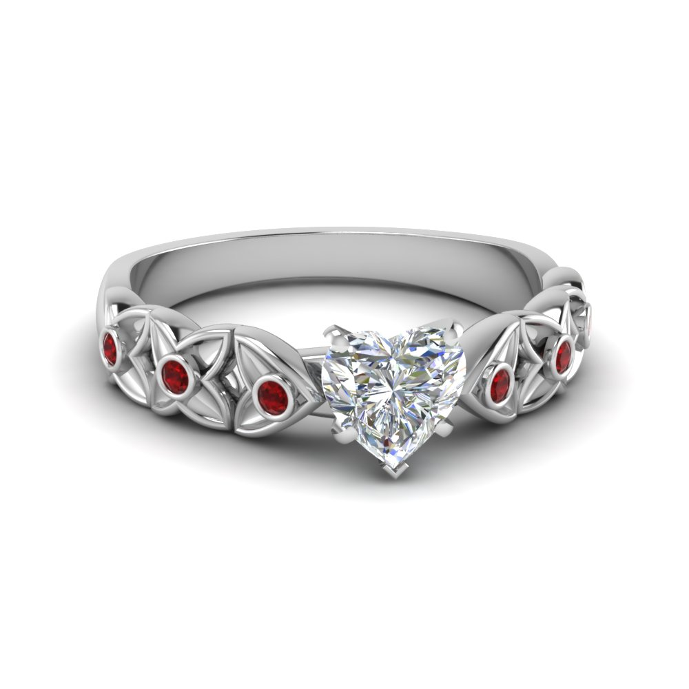 Heart Shaped Diamond Floral Accent Ruby Engagement Ring In 14K White ...