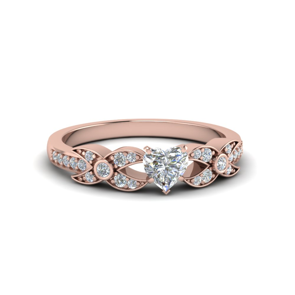 heart shaped flower pave diamond ring in 14K rose gold FDENS3322HTR NL RG