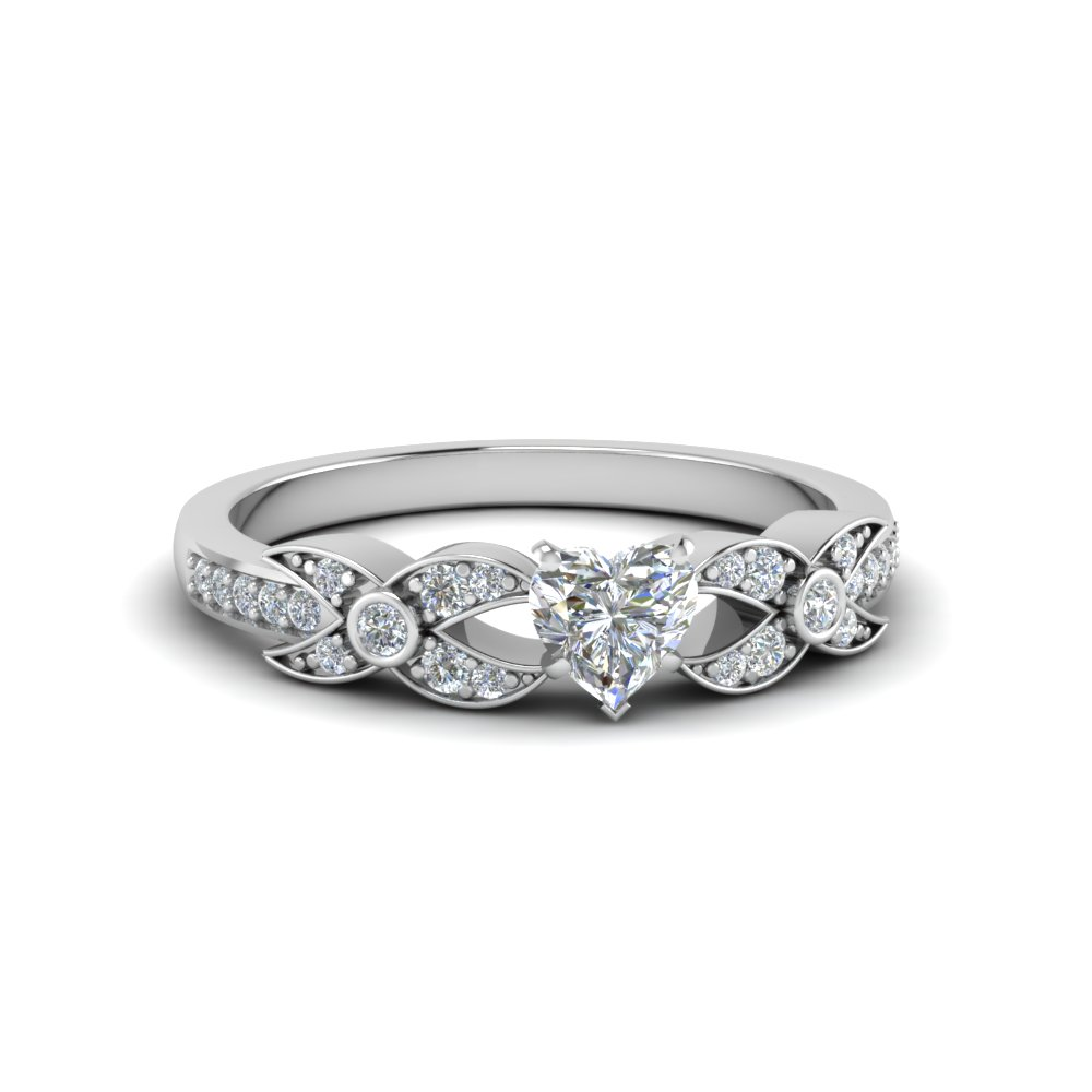 heart shaped flower pave diamond ring in 14K white gold FDENS3322HTR NL WG