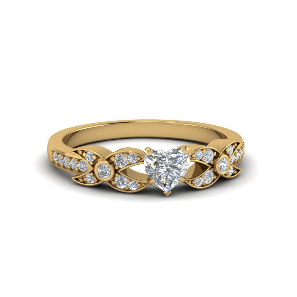 heart shaped flower pave diamond ring in 14K yellow gold FDENS3322HTR NL YG