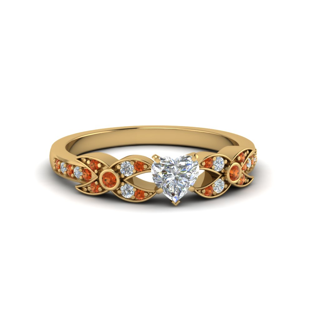 heart shaped flower pave diamond ring with orange sapphire in 14K yellow gold FDENS3322HTRGSAOR NL YG