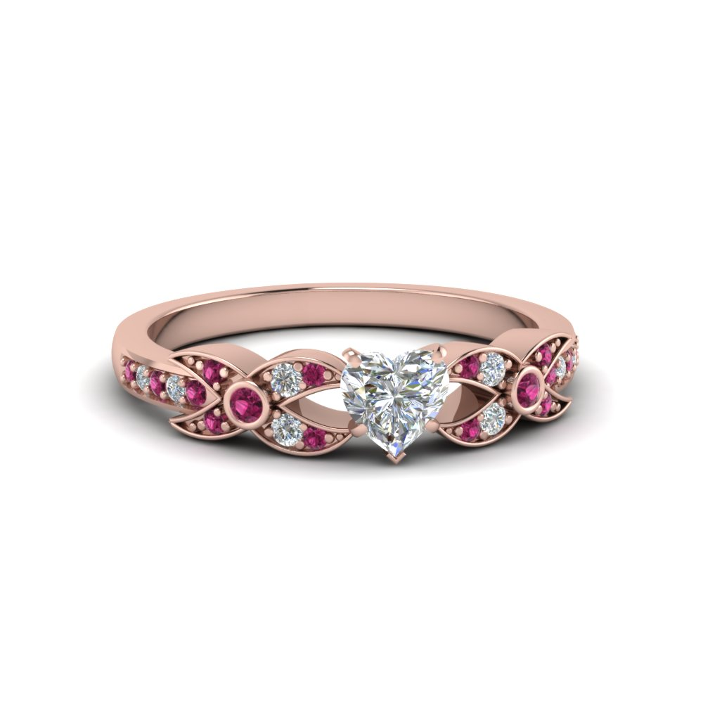 Beautiful X Pattern Wedding Ring With Pink Sapphire