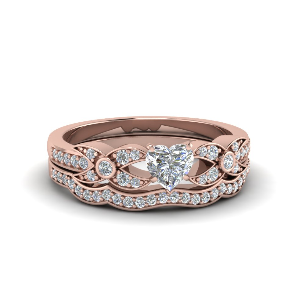 heart shaped flower pave diamond wedding ring set in FDENS3322HT NL RG