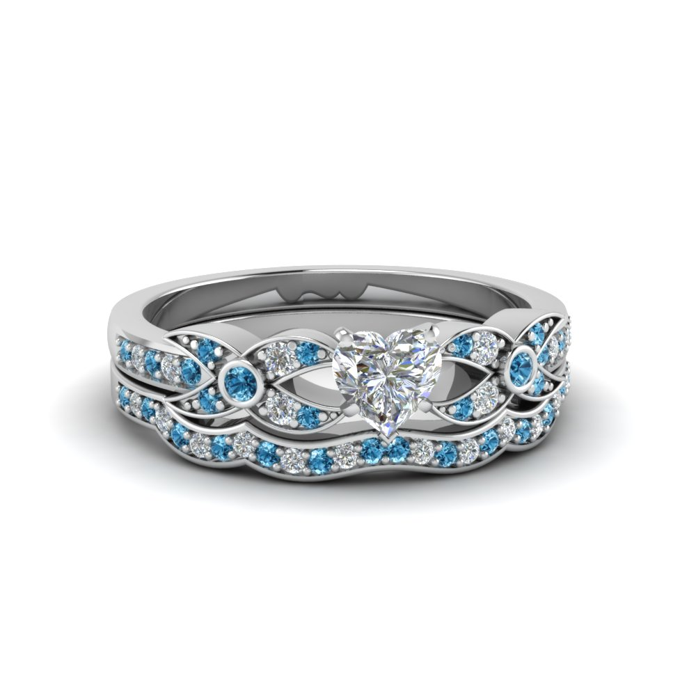 heart shaped diamond wedding ring sets with ice blue topaz in 14k white gold - Blue Topaz Wedding Rings