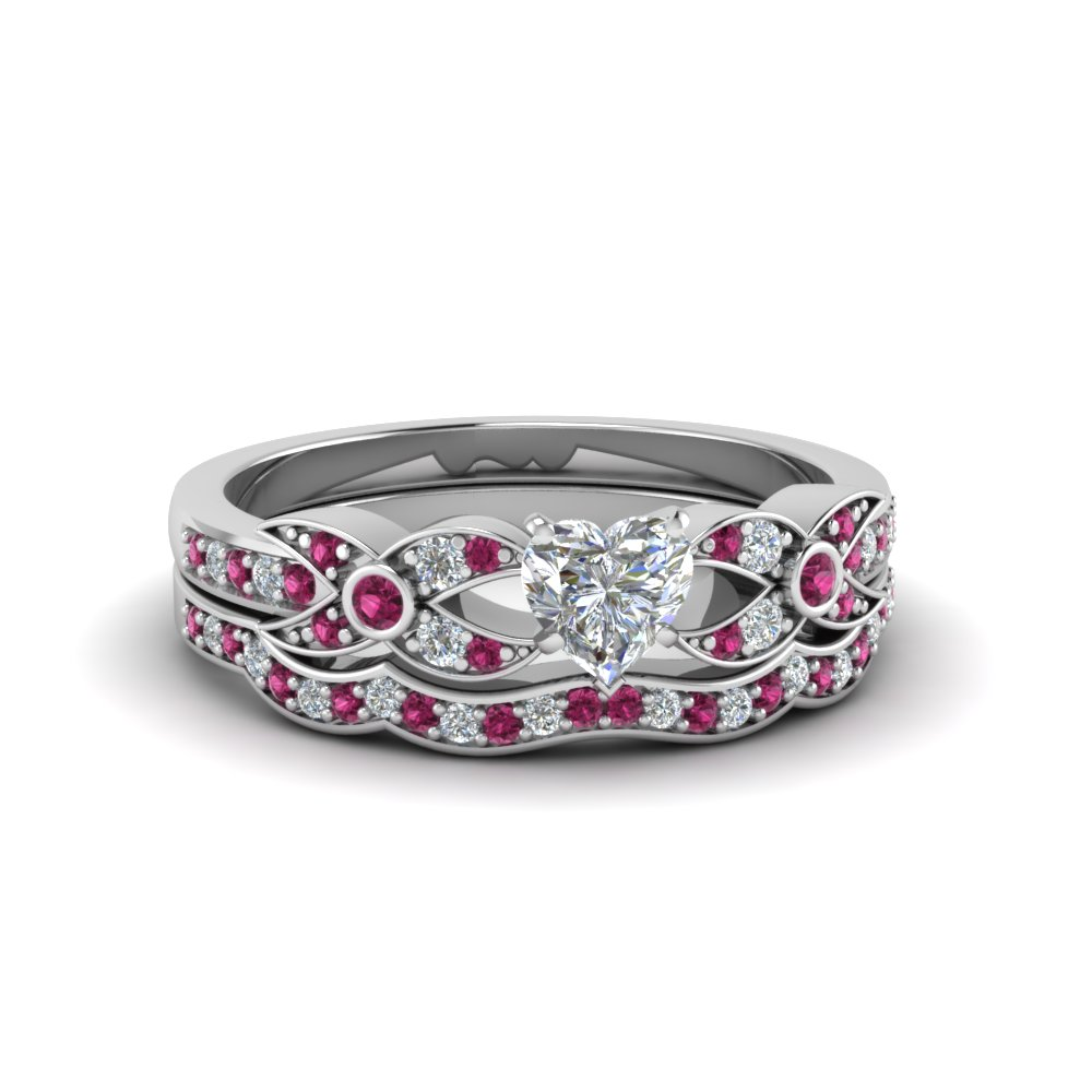 heart shaped diamond wedding ring sets with pink sapphire in 14k white gold - Pink Wedding Ring Set
