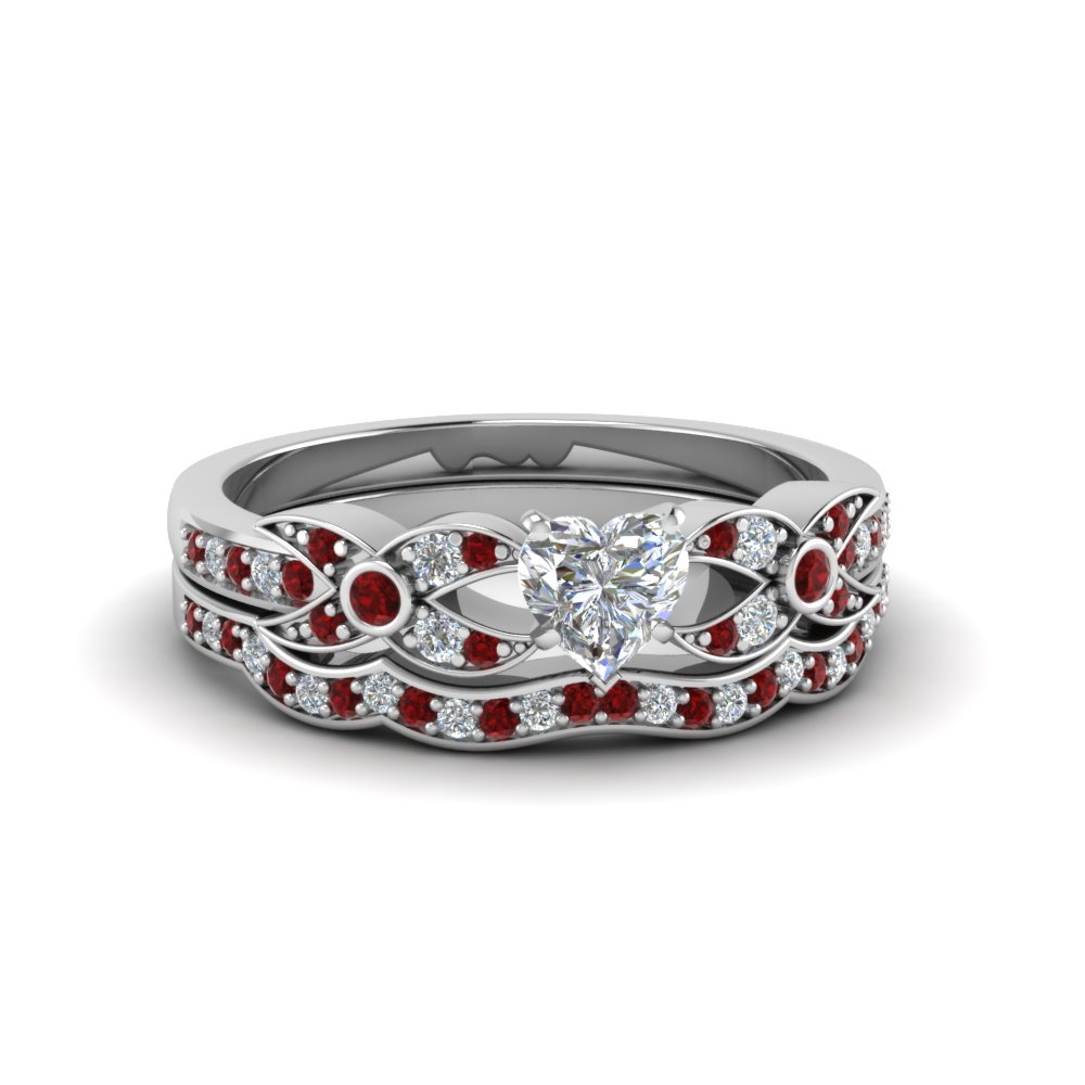 Ruby Wedding Set With Heart Shaped Diamond