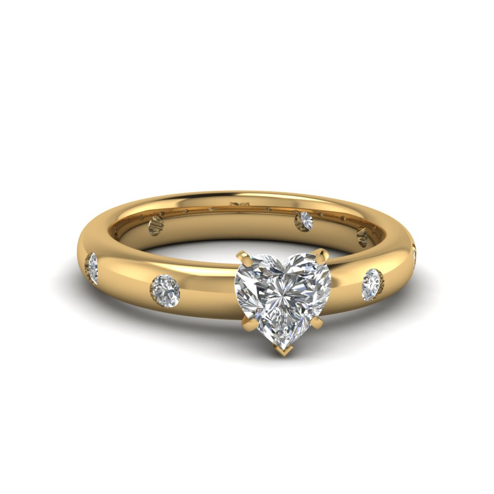 heart shaped flush set diamond engagement ring in FD60227HTR NL YG