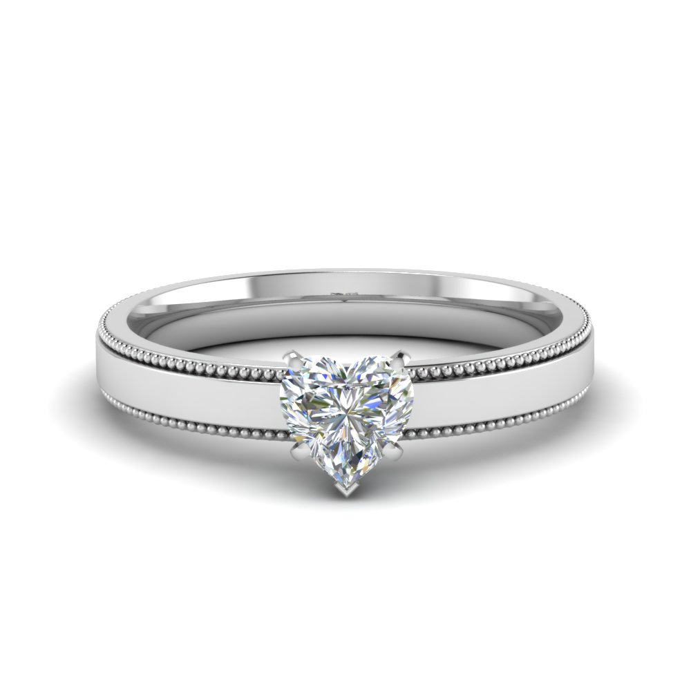 Heart Shaped Milgrain Platinum Ring