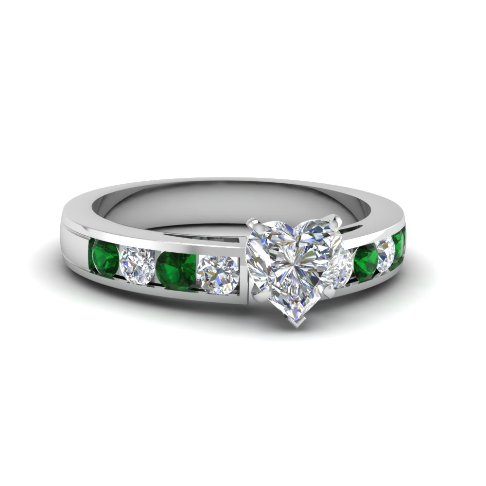 Timeless Channel Heart Diamond Engagement Ring With Emerald In Fdens252htrgemgr Nl Wg