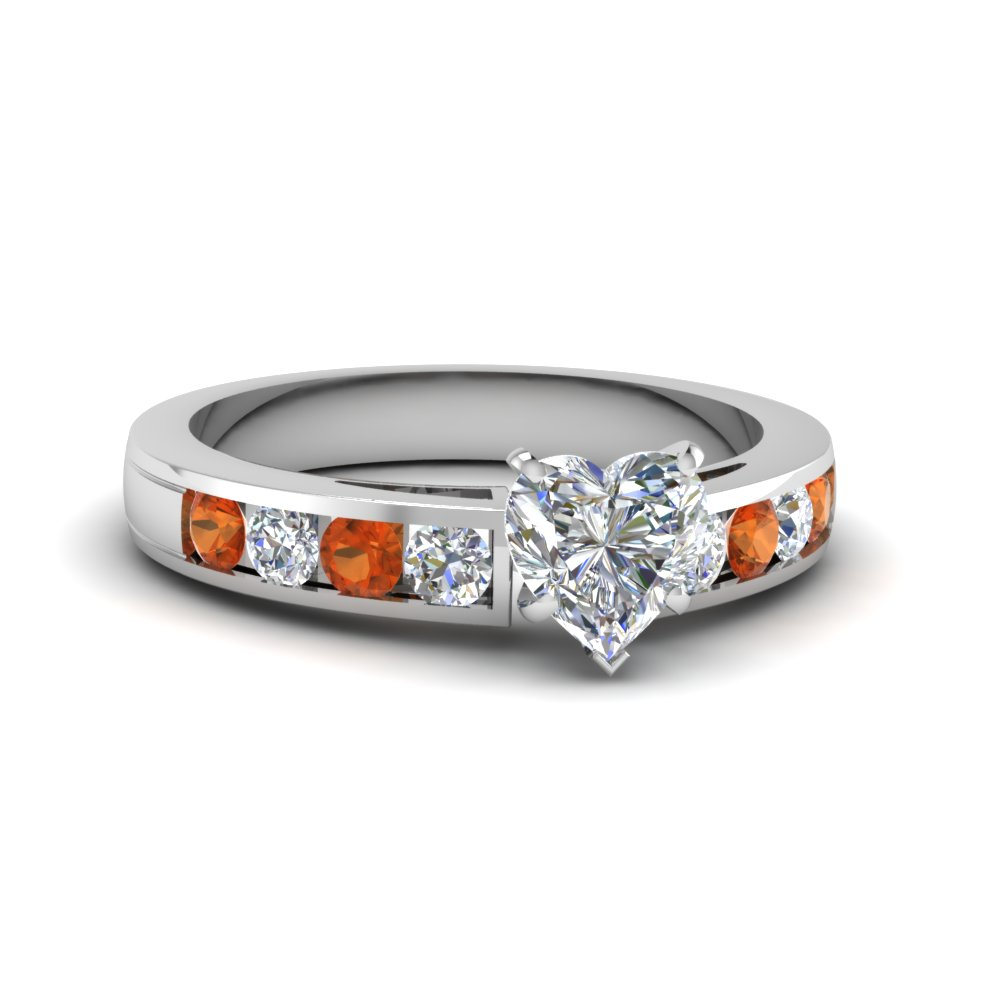 timeless channel heart diamond engagement ring with orange sapphire in FDENS252HTRGSAOR NL WG