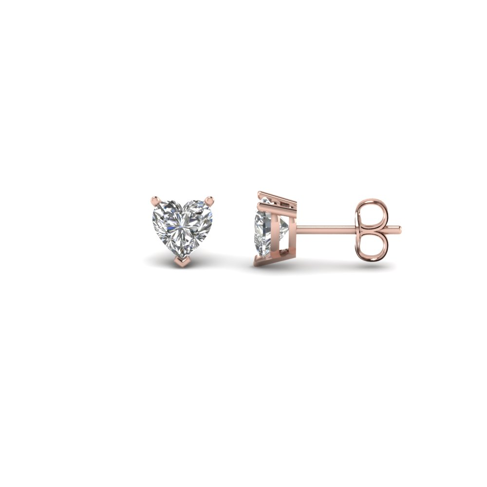 Heart Shaped Half Carat Diamond Earrings In 14k Rose Gold