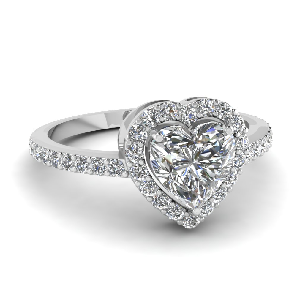 Heart Shaped Halo Diamond Engagement Ring In 14K White Gold