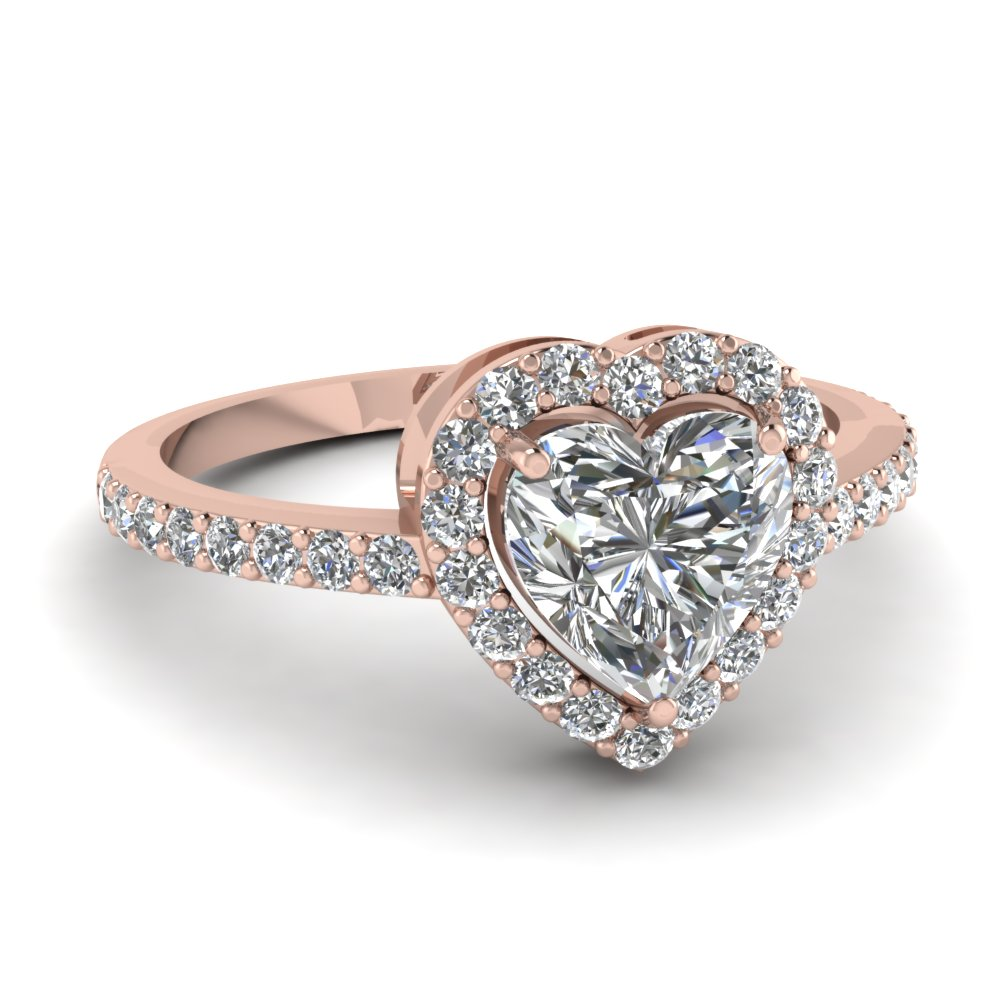 12781ca10 Heart Shaped Halo Diamond Promise Ring In 18K Rose Gold ...
