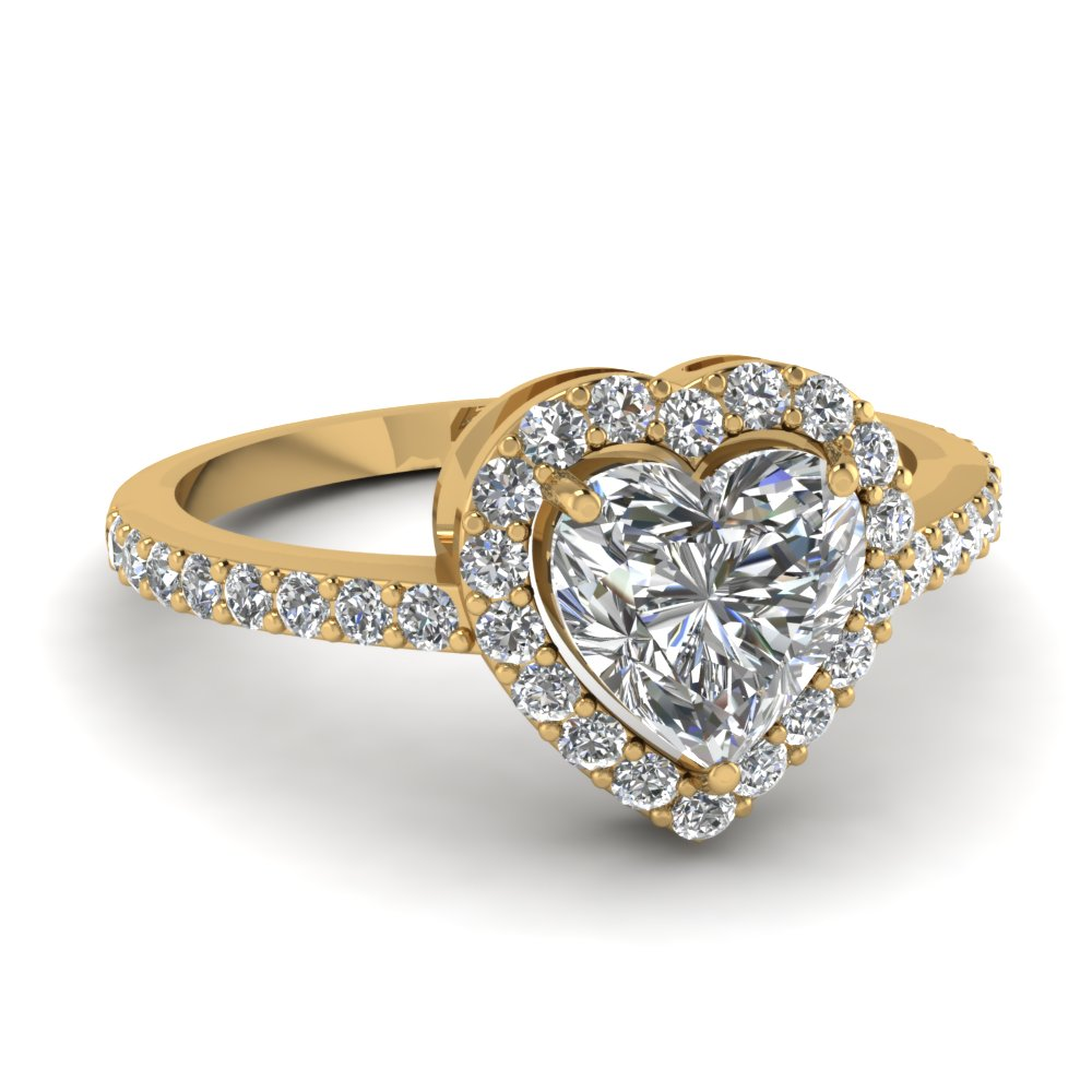 heart shaped halo diamond promise ring in FD1011HTR NL YG