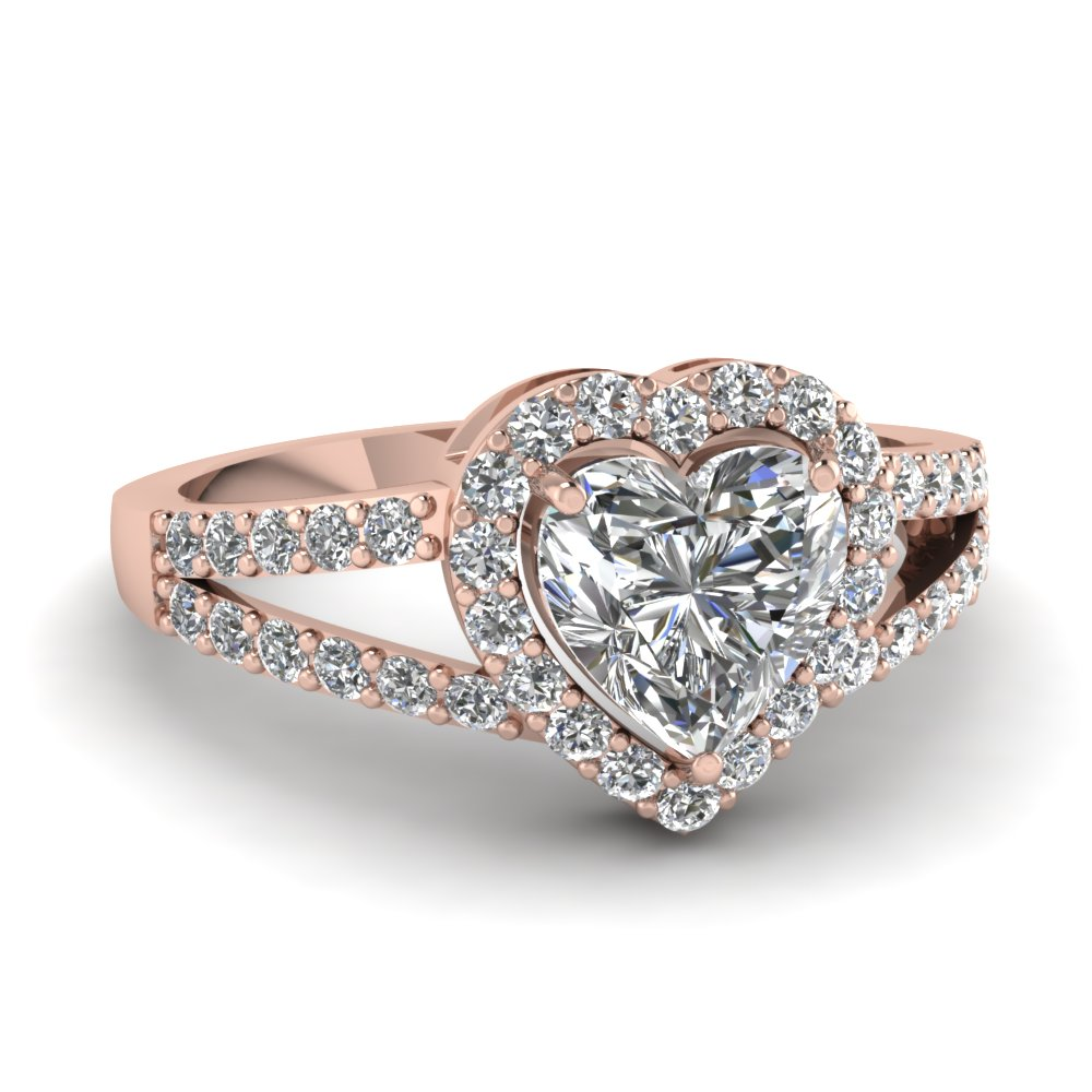 Heart Shaped Halo Diamond Split Shank Ring In 14K Rose Gold
