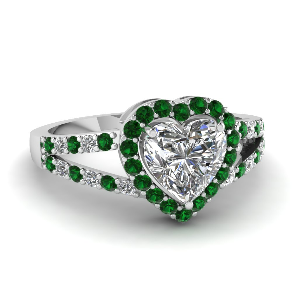 Heart Diamond Emerald Ring