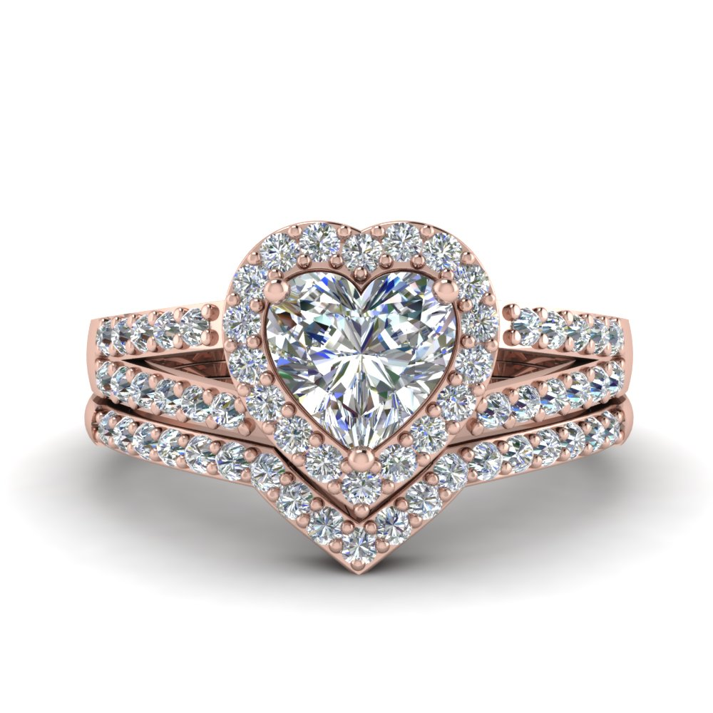 Heart Halo Diamond Wedding Ring Set