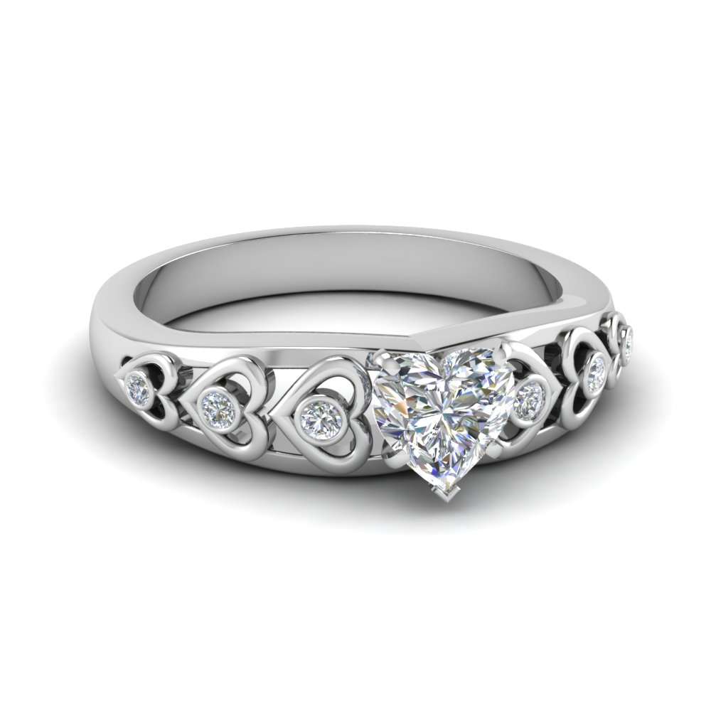 heart shaped heart design diamond accent engagement ring in FD1148HTR NL WG GS