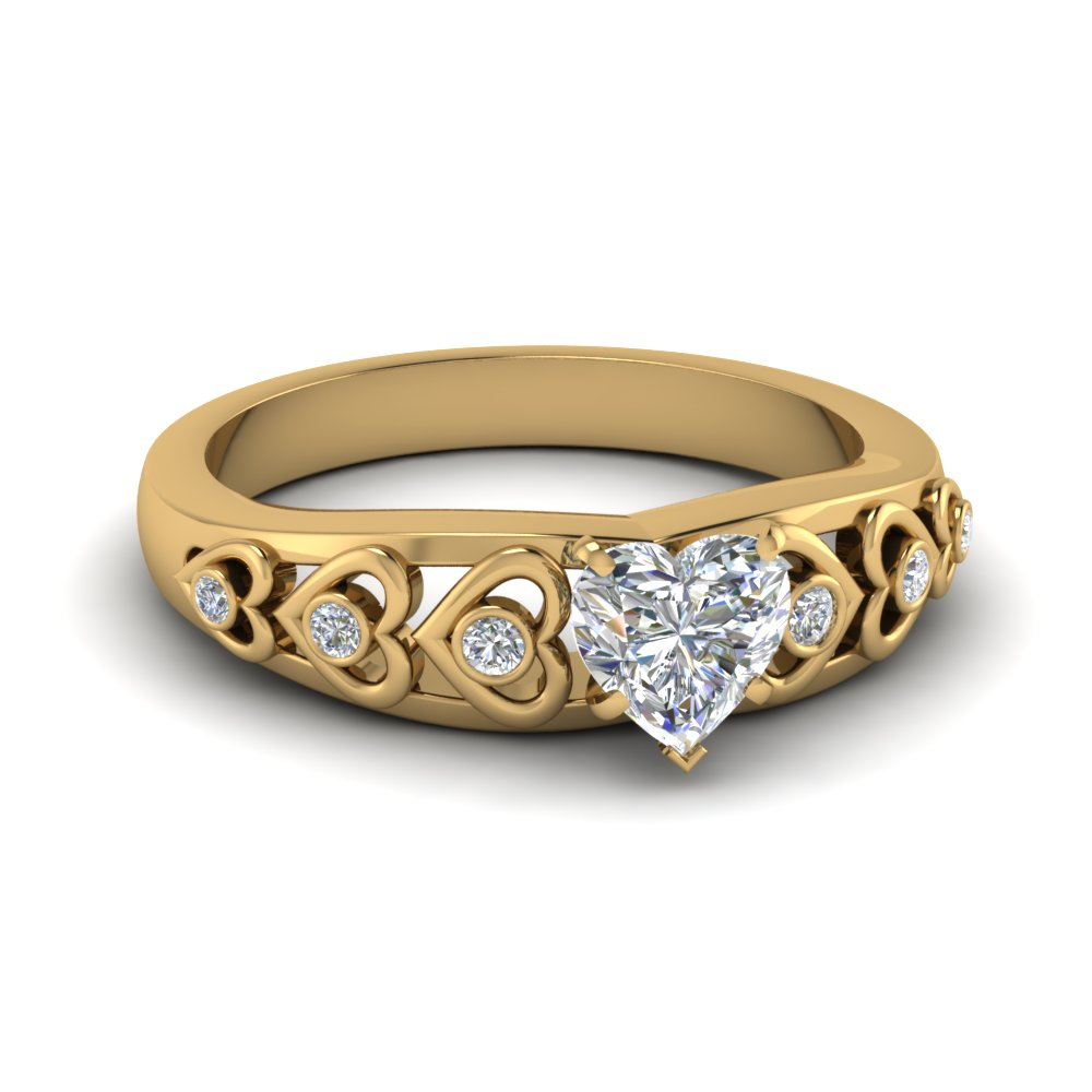 heart shaped heart design diamond accent engagement ring in 18k
