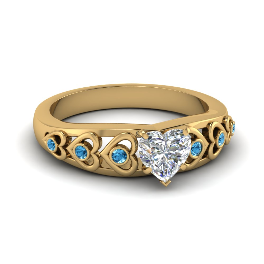 heart shaped heart design diamond accent engagement ring with ice blue topaz in FD1148HTRGICBLTO NL YG GS