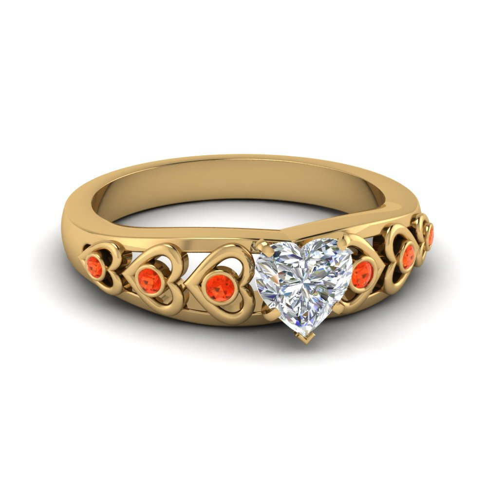 heart shaped heart design diamond accent engagement ring with poppy topaz in FD1148HTRGPOTO NL YG GS