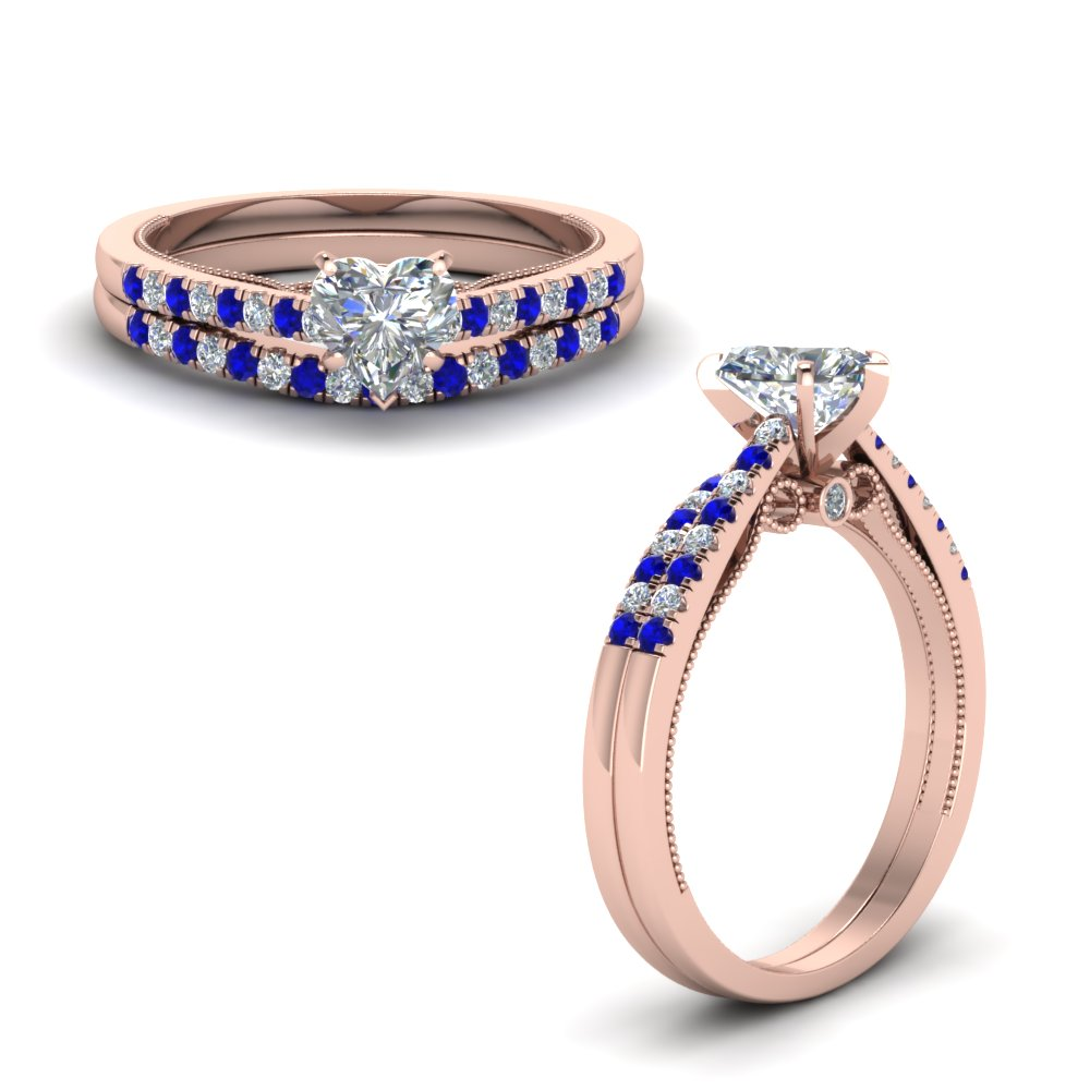 heart shaped high set milgrain diamond wedding ring set with sapphire in FDO50845HTGSABLANGLE1 NL RG