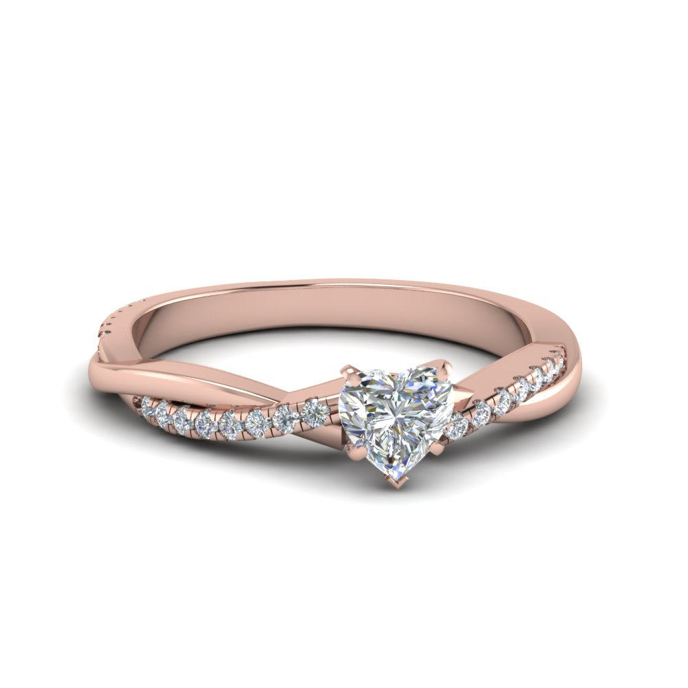 Twisted Heart Diamond Engagement Ring