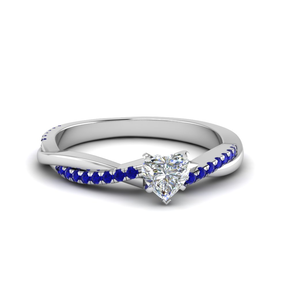 heart shaped Infinity twist diamond engagement ring with blue sapphire in 14K white gold FD8253HTRGSABL NL WG