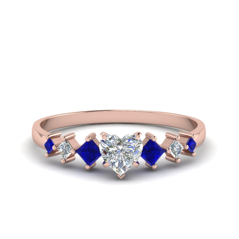 heart shaped kite set diamond ring with sapphire in 14K rose gold FDENS3126HTRGSABL NL RG