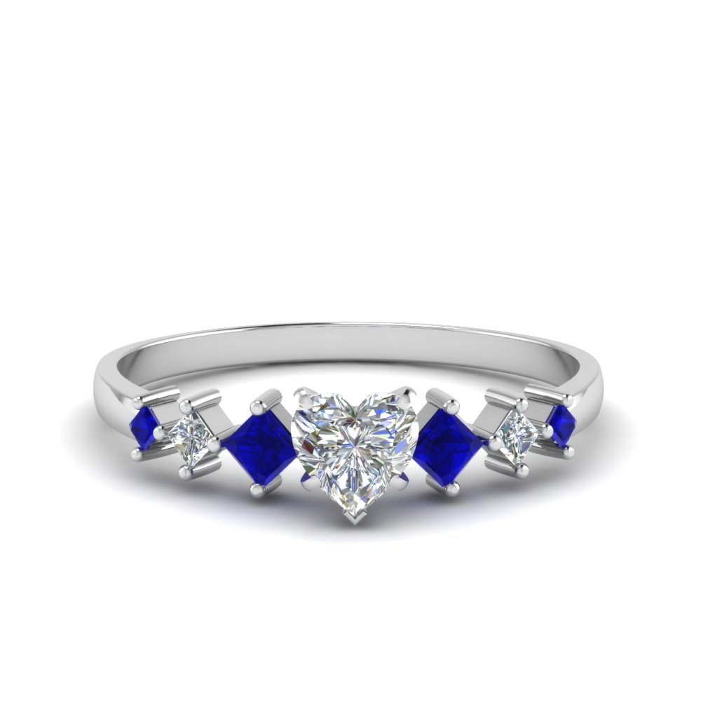 heart shaped kite set diamond ring with blue sapphire in 14K white gold FDENS3126HTRGSABL NL WG