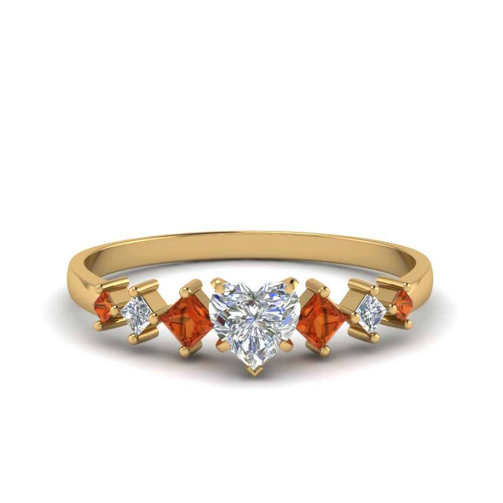 heart shaped kite set diamond ring with orange sapphire in 14K yellow gold FDENS3126HTRGSAOR NL YG