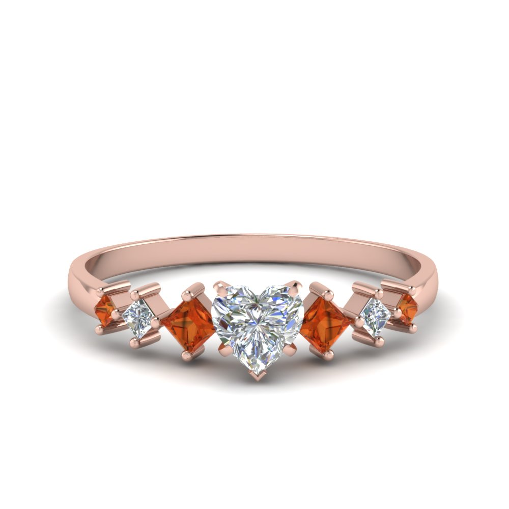 heart shaped kite set diamond ring with orange sapphire in 18K rose gold FDENS3126HTRGSAOR NL RG