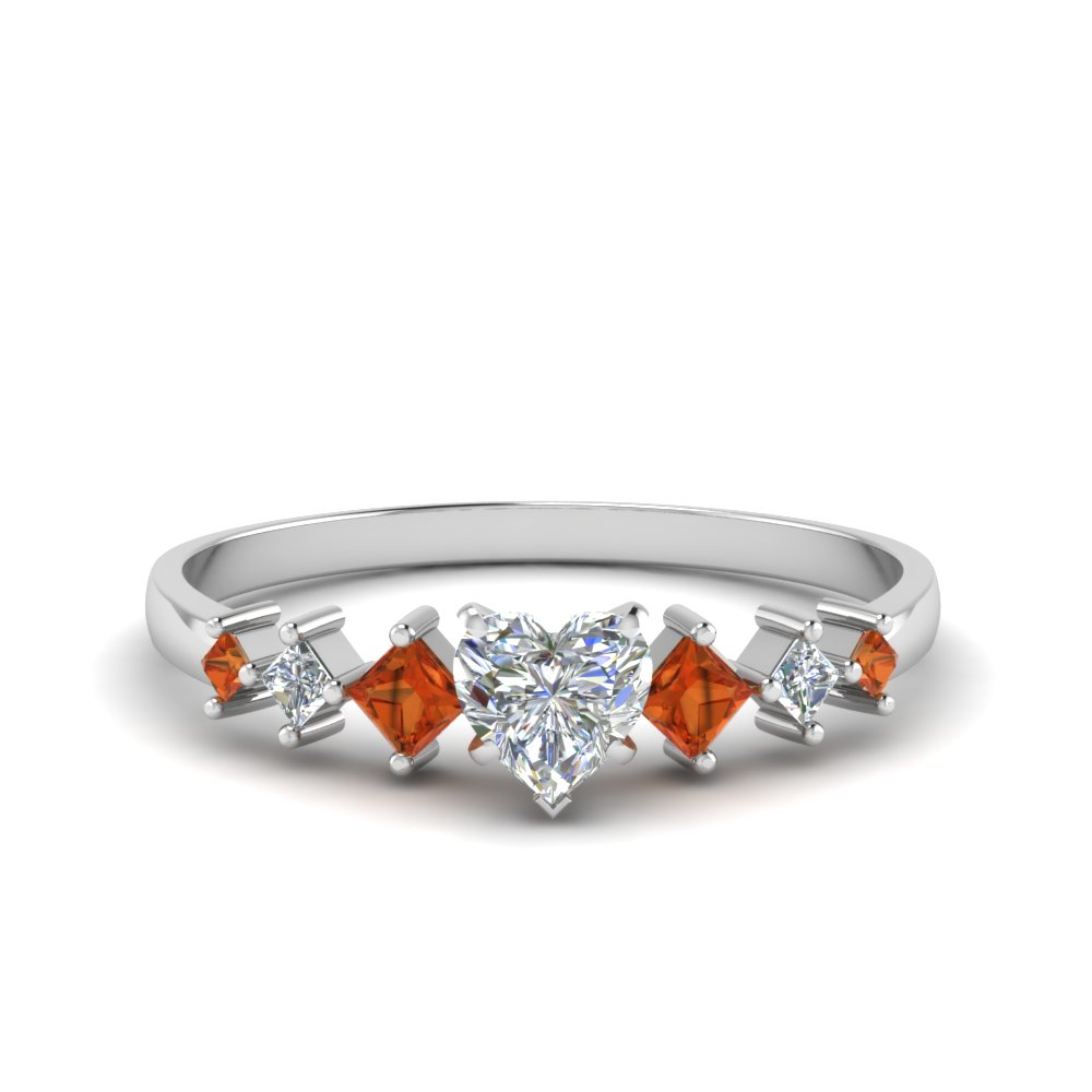 heart shaped kite set diamond ring with orange sapphire in 18K white gold FDENS3126HTRGSAOR NL WG