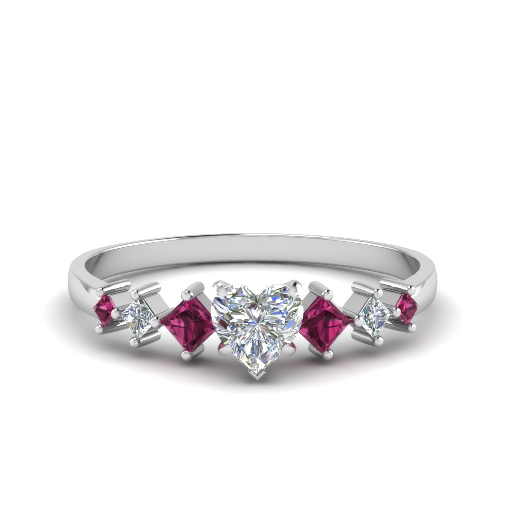 heart shaped kite set diamond ring with pink sapphire in 14K white gold FDENS3126HTRGSADRPI NL WG