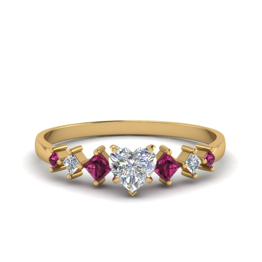 heart shaped kite set diamond ring with pink sapphire in 14K yellow gold FDENS3126HTRGSADRPI NL YG