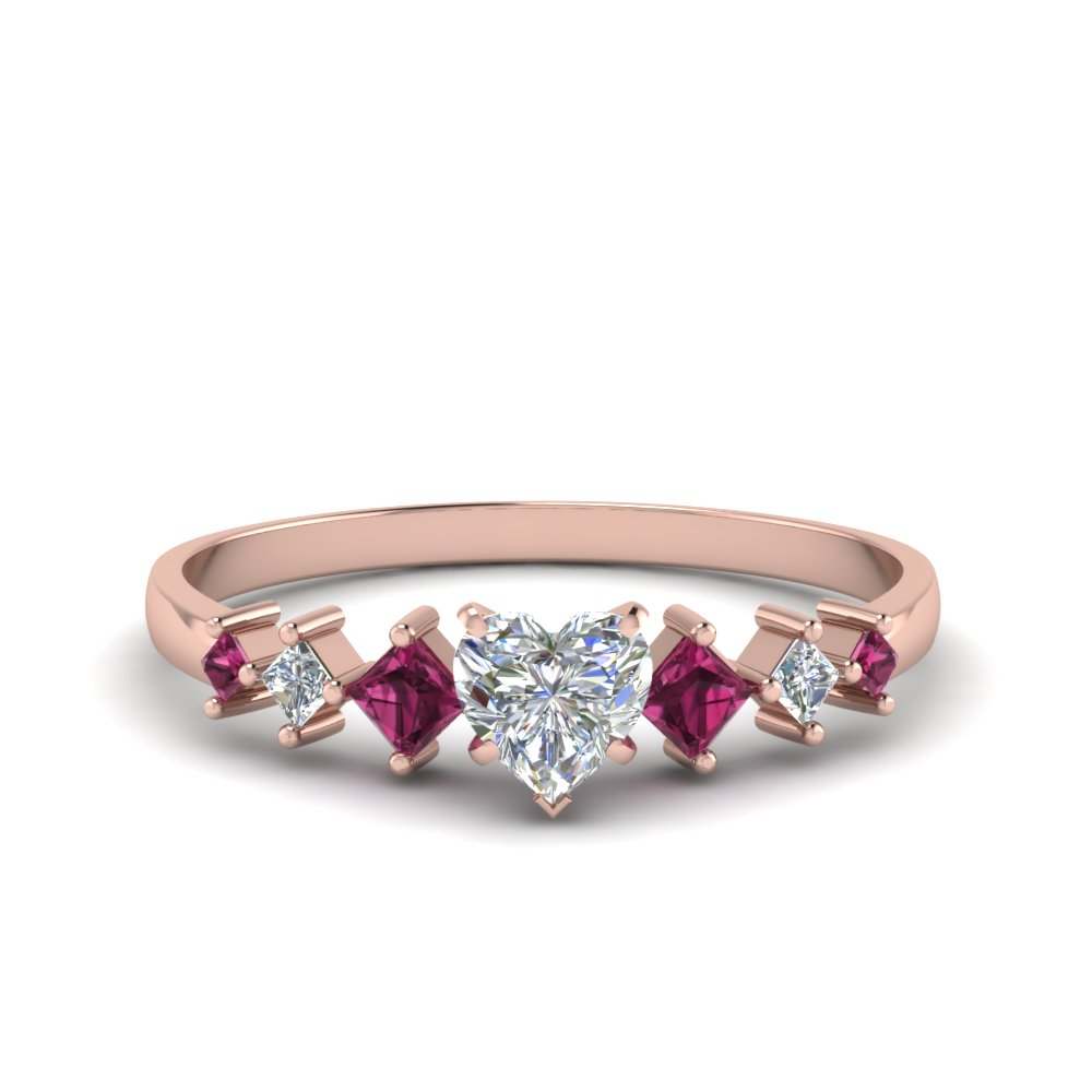 heart shaped kite set diamond ring with pink sapphire in 18K rose gold FDENS3126HTRGSADRPI NL RG