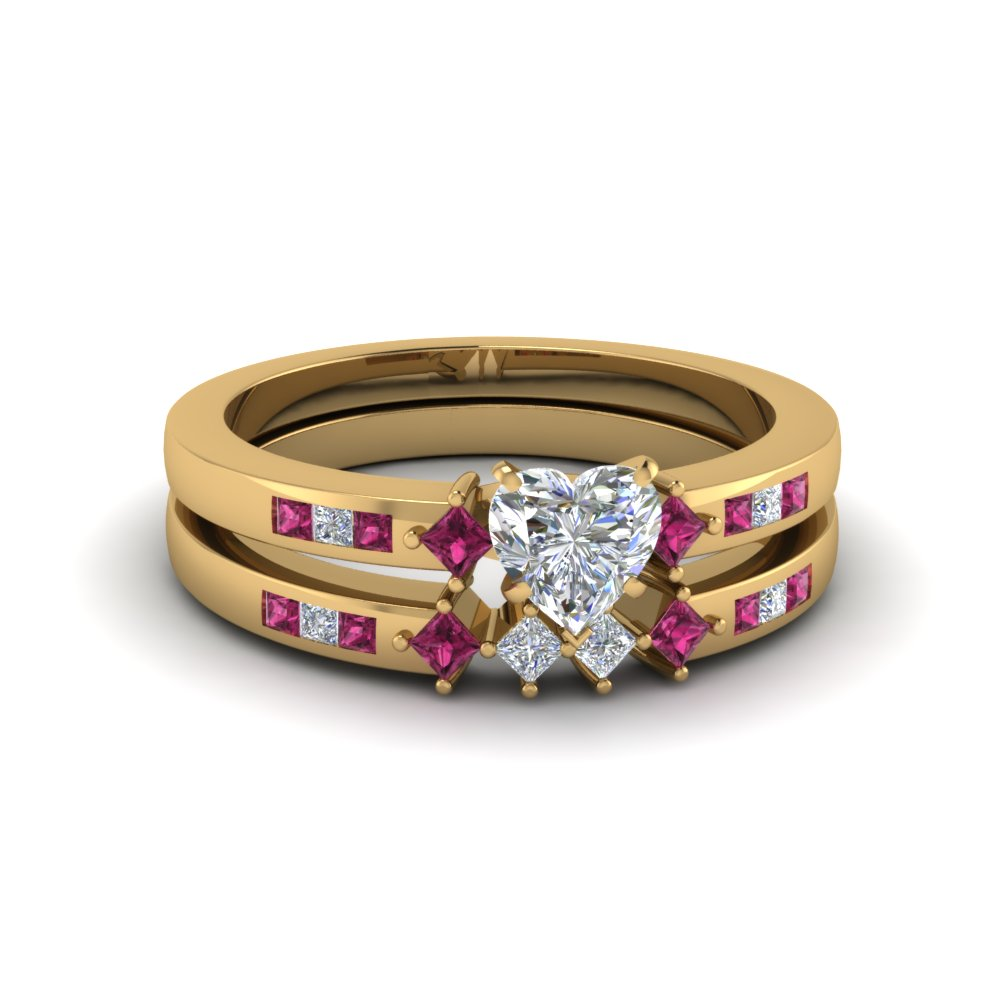 heart shaped kite style channel set accent diamond wedding ring set with pink sapphire in 14K yellow gold FDENS3121HTGSADRPI NL YG