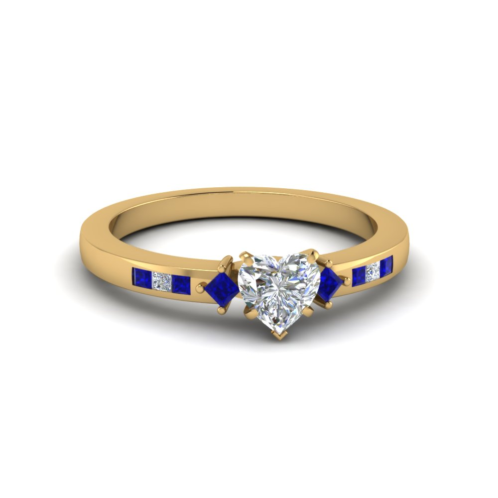 heart shaped kite with channel set accent diamond engagement ring with blue sapphire in 14K yellow gold FDENS3121HTRGSABL NL YG