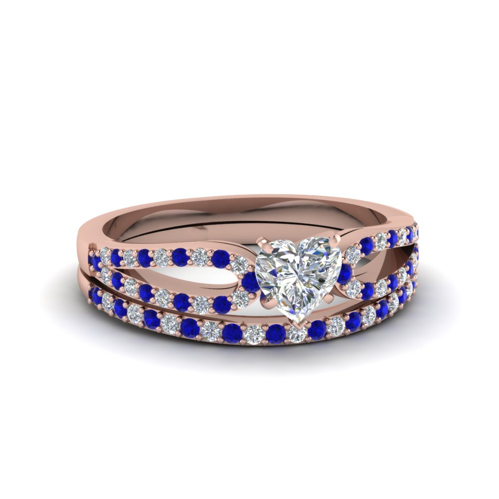 heart shaped loop diamond ring with sapphire matching band in 18K rose gold FDENS3323HTGSABL NL RG