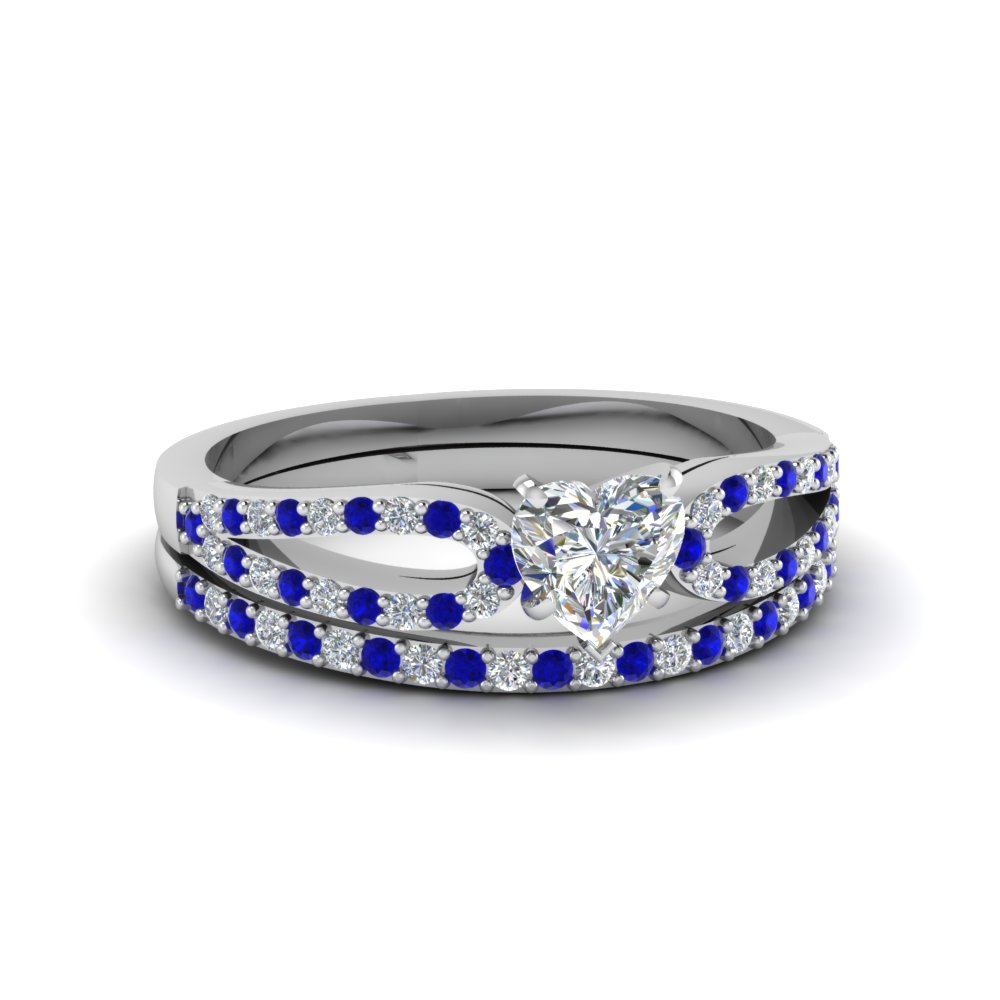 heart shaped loop diamond ring with sapphire matching band in 950 platinum FDENS3323HTGSABL NL WG