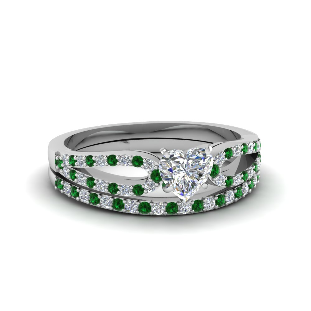 heart shaped loop diamond ring with emerald matching band in 18K white gold FDENS3323HTGEMGR NL WG