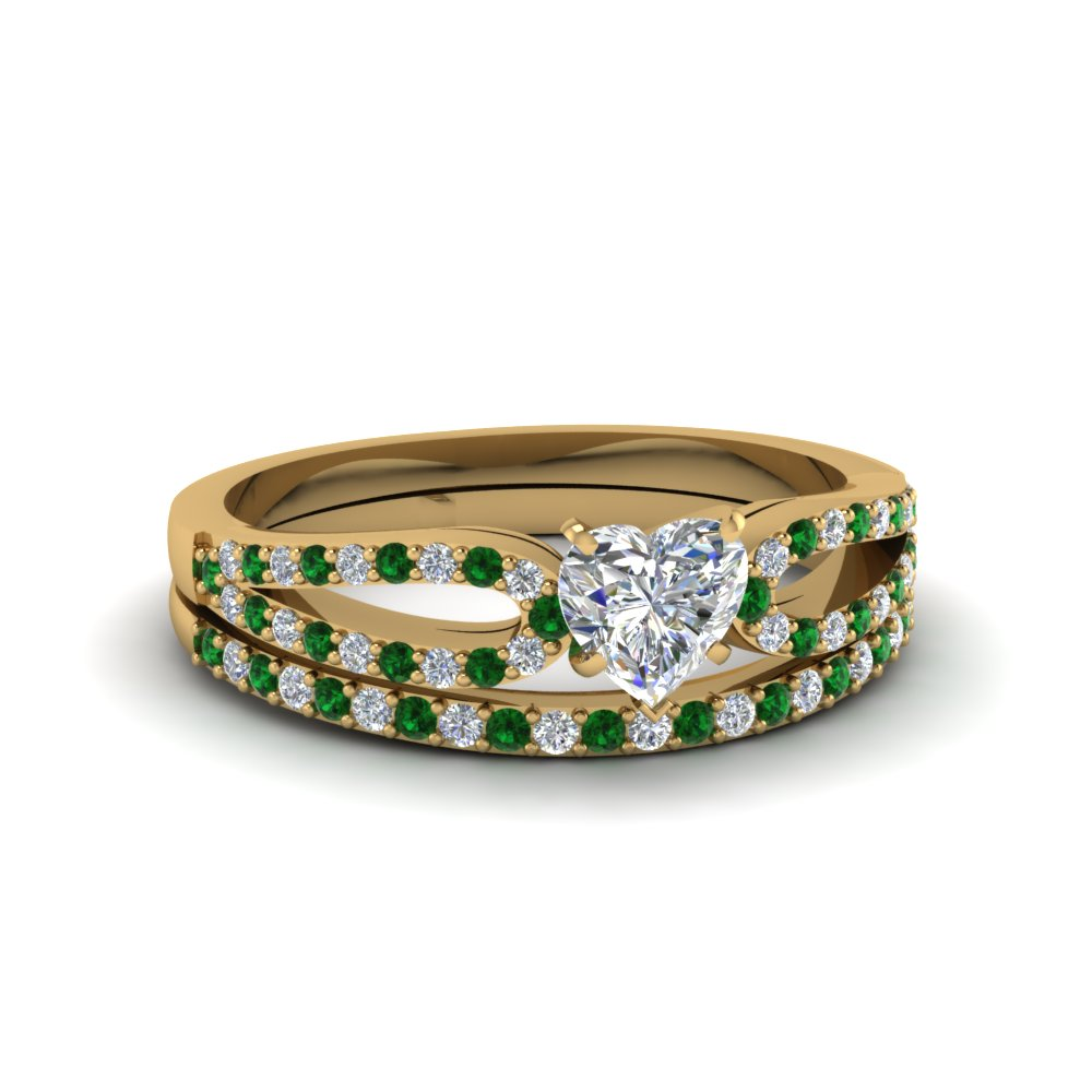 heart shaped loop diamond ring with emerald matching band in 18K yellow gold FDENS3323HTGEMGR NL YG