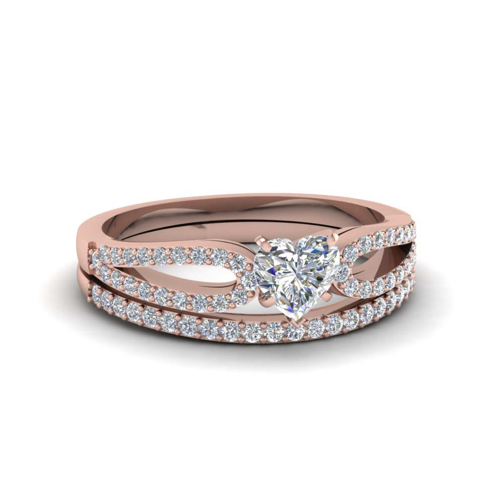 heart shaped loop diamond ring with matching band in 14K rose gold FDENS3323HT NL RG