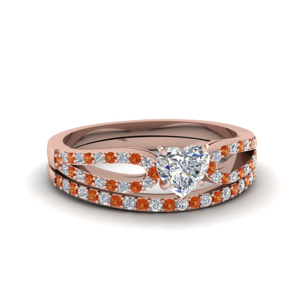 heart shaped loop diamond ring with orange sapphire matching band in 14K rose gold FDENS3323HTGSAOR NL RG
