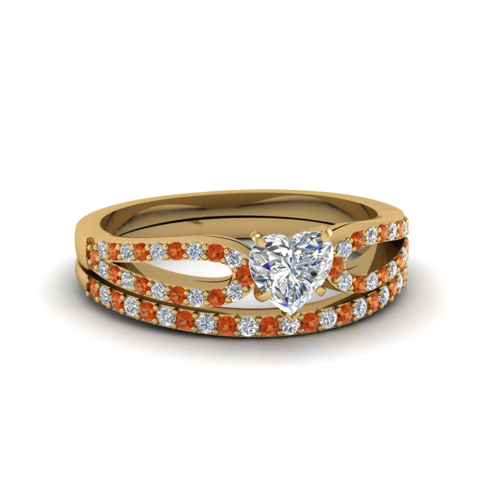 heart shaped loop diamond ring with orange sapphire matching band in 14K yellow gold FDENS3323HTGSAOR NL YG