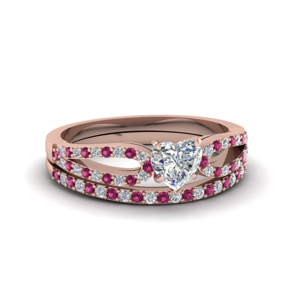 heart shaped loop diamond ring with pink sapphire matching band in 14K rose gold FDENS3323HTGSADRPI NL RG