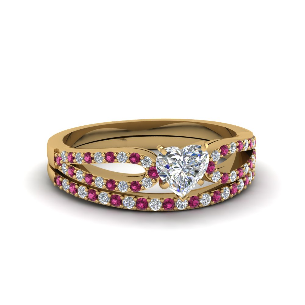 heart shaped loop diamond ring with pink sapphire matching band in 18K yellow gold FDENS3323HTGSADRPI NL YG