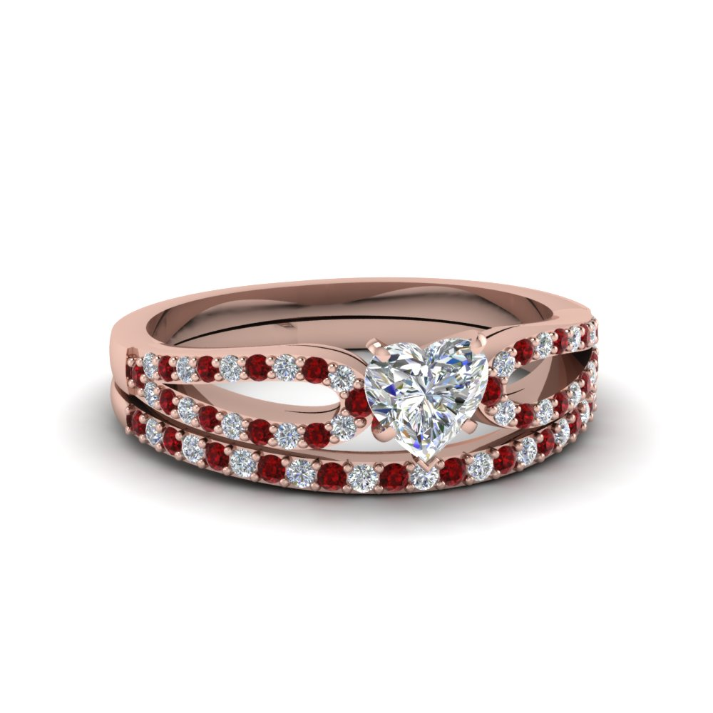 heart shaped loop diamond ring with ruby matching band in 14K rose gold FDENS3323HTGRUDR NL RG