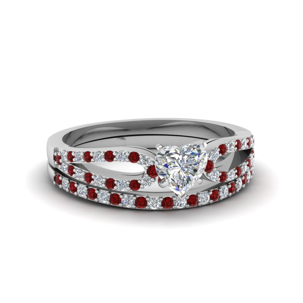 heart shaped loop diamond ring with ruby matching band in 14K white gold FDENS3323HTGRUDR NL WG
